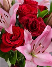 Red Rose and Pink Bloom Arrangement