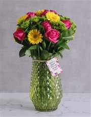 Cerise and Gold Florals in a Vase