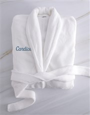 Personalised Ladies White And Blue Fleece Gown