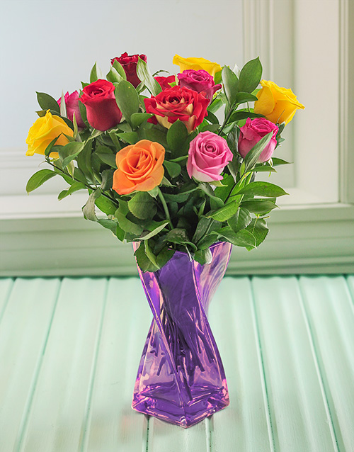 birthday: Mixed Roses in a Purple Twisted Vase!