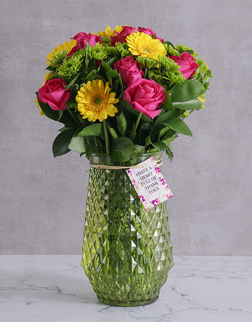 bosses-day: Thank You Blooms In Green Vase!