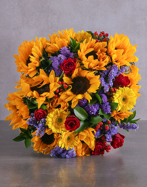anniversary: Romantic Sunflower and Rose Bouquet!
