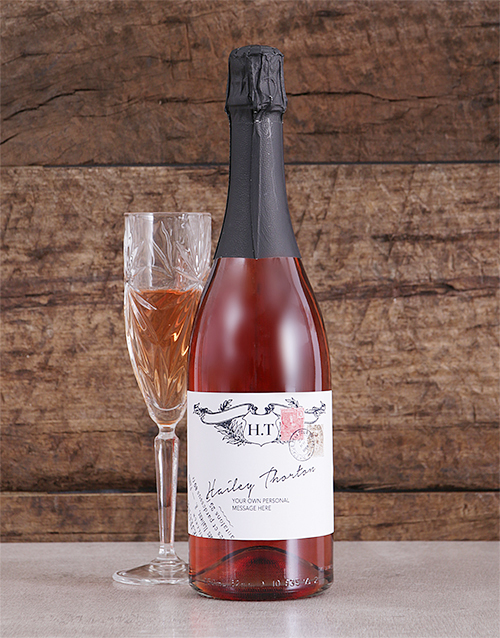 black-friday: Personalised Vintage Stamp Rose Bubbly!