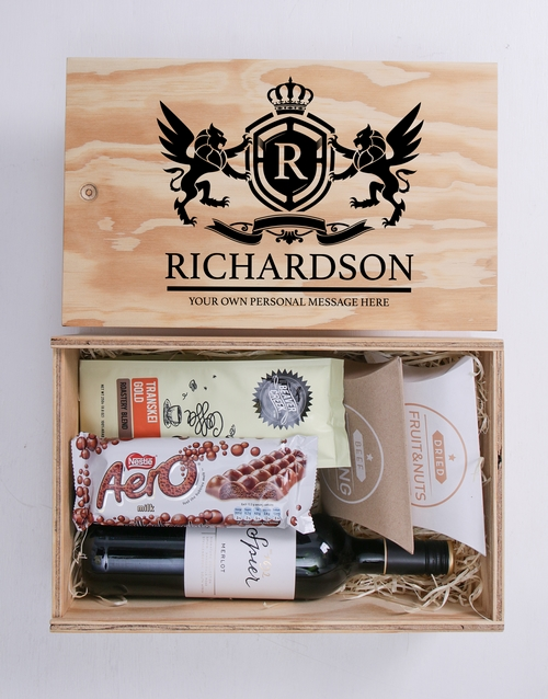 anniversary: Personalised Coat of Arms Man Crate!