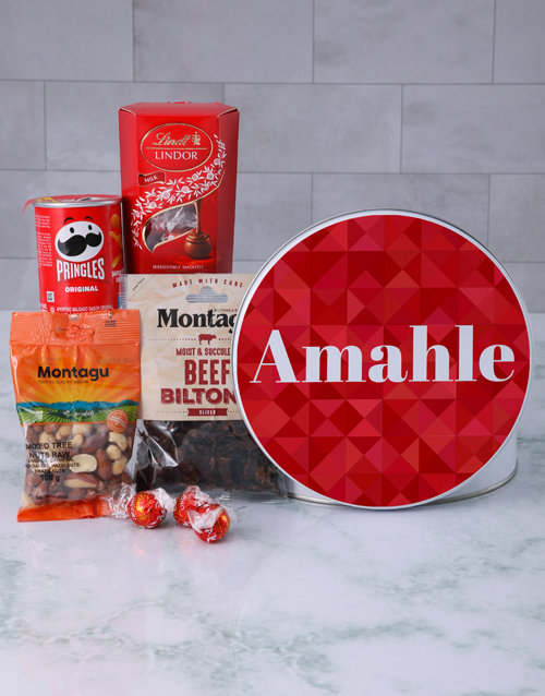 mothers-day: Personalised Red Geometric Gourmet Tin!