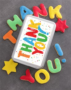 gifts: Colourful Thank You Cookie Tin!