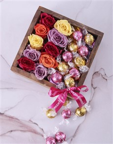 gifts: Delightful Roses and Lindt Crate!