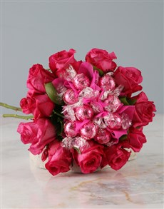 gifts: Pink Rose and Lindt Bouquet!