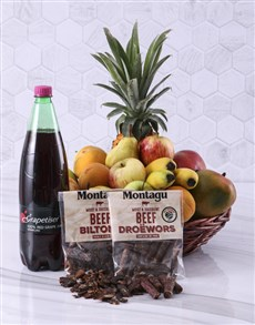 gifts: Fruit with Sparkling Juice and Biltong Gift!