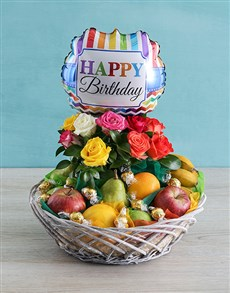 gifts: Happy Birthday Rose and Fruit Basket!