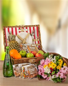 gifts: Fruit Nuts And Beautiful Sprays Picnic Basket!