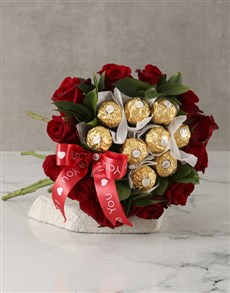 gifts: Red Roses and Ferrero Bouquet!