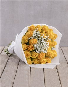 flowers: Yellow Rose Bouquet in Wrapping!