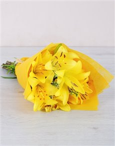 flowers: Yellow Asiflorum Lily Bouquet!