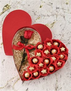 flowers: Box Of Hearts With Preserved Rose!