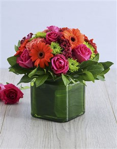 gifts: Mixed Floral in Square Green Vase!