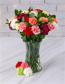 gifts: Mixed Carnations in a Tall Glass Vase!