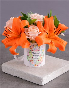 gifts: Personalised Personal Message Floral Mug!
