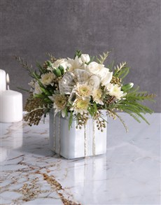 gifts: Radiant White Florals in Square Vase!