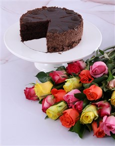 gifts: Radiant Roses And Chateaux Gateaux Chocolate Cake!