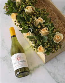 gifts: Cream Roses And Chardonnay Surprise!