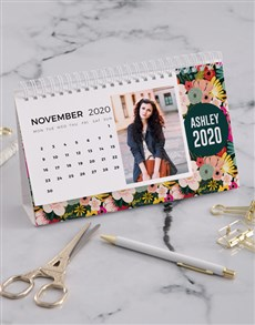 gifts: Personalised Bright Floral Desk Calendar!