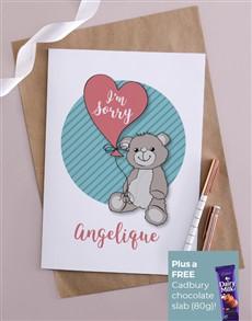 gifts: Personalised Im Sorry Teddy Card!