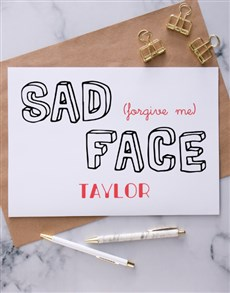 gifts: Personalised Sad Face Apology Card!
