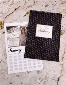 gifts: Personalised Gold Geometric Wall Calendar!