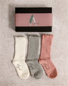 gifts: Personalised Leaf Name Frills Sock Pack!