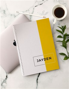 gifts: Personalised Modern Yellow Notebook!
