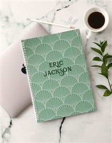 gifts: Personalised Green Deco Notebook!