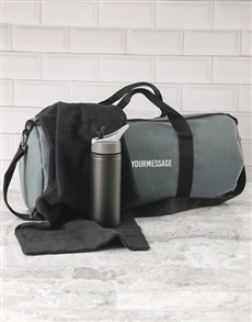 gifts: Personalised Message Grey Gym Duffel Bag!