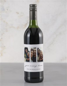 gifts: Personalised Triple Photo Red Wine!