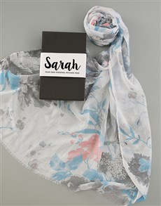 gifts: Personalised Blue Floral Scarf in Box!