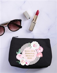 gifts: Personalised Floral Spotted Cosmetic Bag!