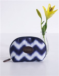 gifts: Personalised Blue Watercolour Cosmetic Bag!