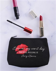 gifts: Personalised Still Killing It Cosmetic Bag!