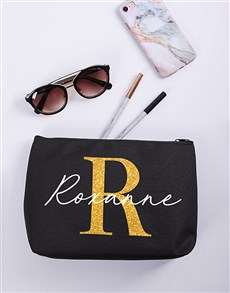 gifts: Personalised Glitter Initial & Name Cosmetic Bag!