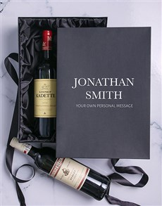 gifts: Personalised Name and Message Red Wine Duo!