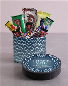 gifts: Personalised Thank You Blue Pattern Hat Box!