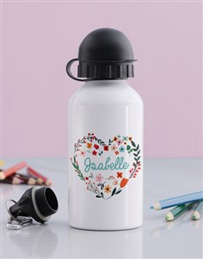 gifts: Personalised Floral Heart Girls Bottle!
