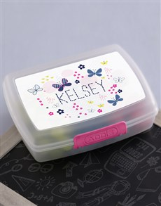 gifts: Personalised Butterfly Girls Lunch Box!