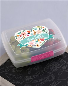 gifts: Personalised Floral Heart Girls Lunch Box!