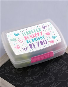 gifts: Personalised Happy Heart Girls Lunch Box!