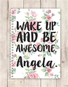 gifts: Personalised Floral Be Awesome Notebook!