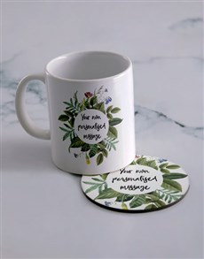 gifts: Personalised Own Message Mug And Coaster Set!