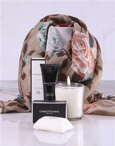 gifts: Charlotte Rhys Pamper Box And Beige Floral Scarf!