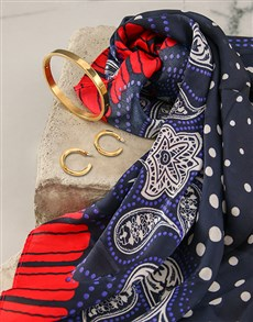 gifts: Red And Navy Polka Dot Silk Scarf Combo!