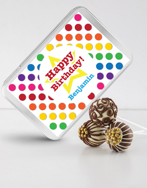 personalised: Birthday Cake Pops in a Personalised Tin!
